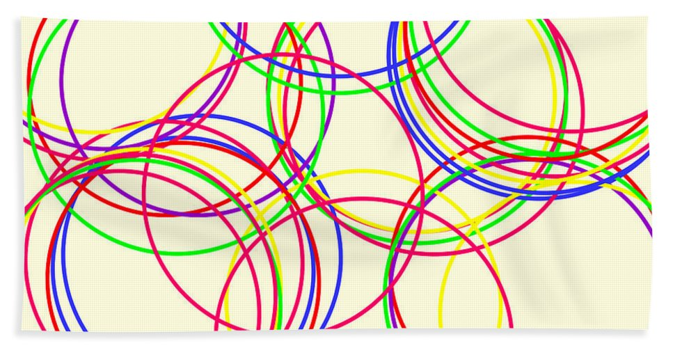 Abstract Bath Sheet featuring the digital art Hoops by Geraldine Cote