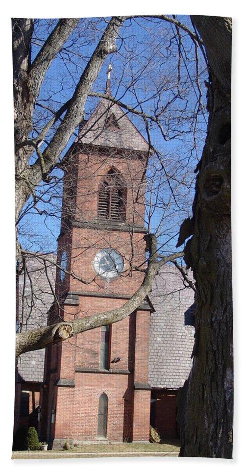 Church Hand Towel featuring the photograph Hoosick Falls Brick Church by Eric Swan