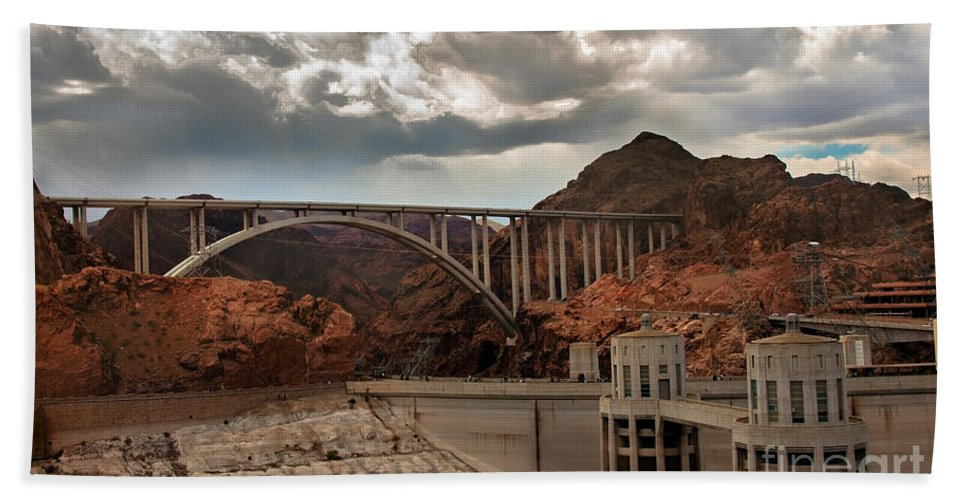 The Mike O'callaghan Hand Towel featuring the photograph Hoover Dam Bridge by Robert Bales