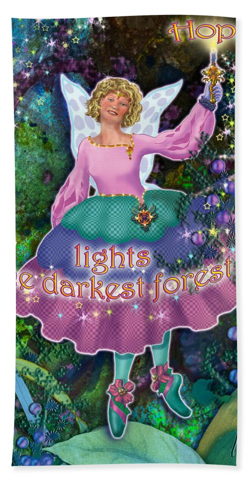 Fairy Hand Towel featuring the painting Hope Lights The Darkest Forest by Teresa Ascone