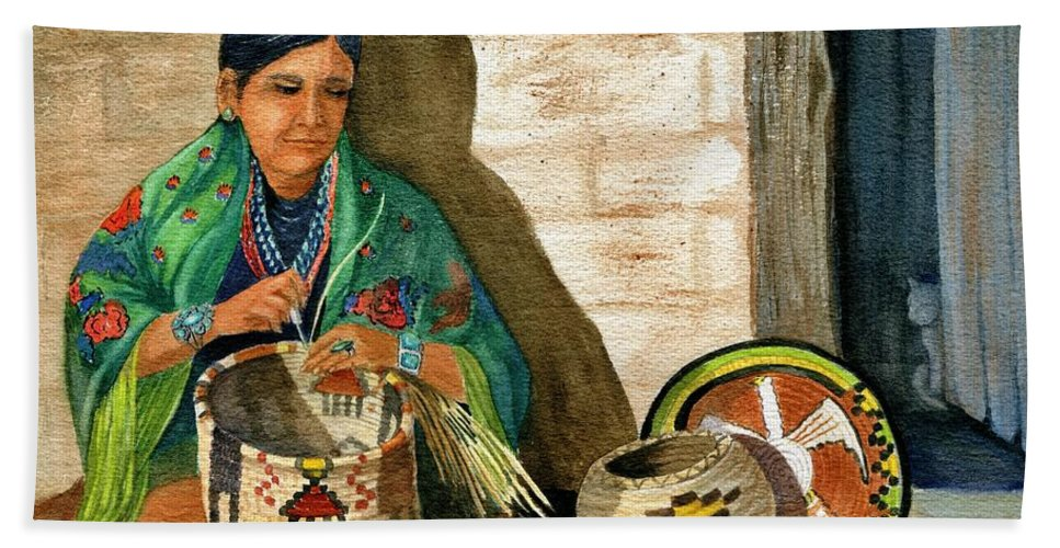 Arizona Native Hand Towel featuring the painting Hopi Basket Weaver by Marilyn Smith