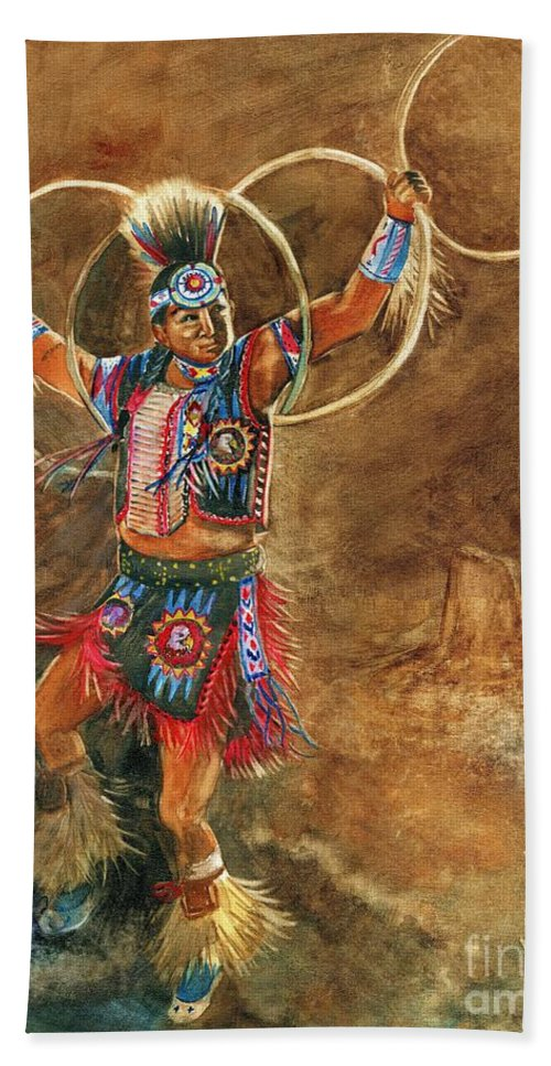 Hopi Hoop Dancer Bath Sheet featuring the painting Hopi Hoop Dancer by Marilyn Smith