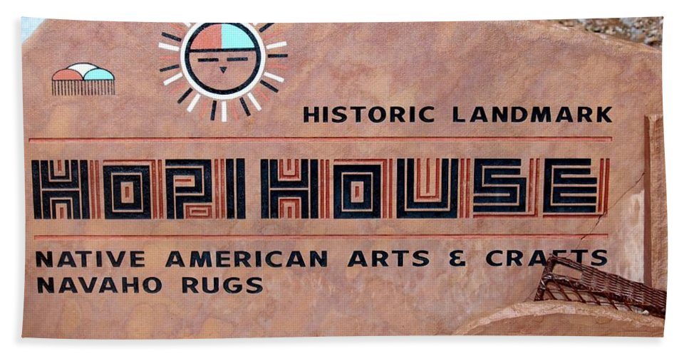 Sign Hand Towel featuring the photograph Hopihouse Sign by Cynthia Guinn