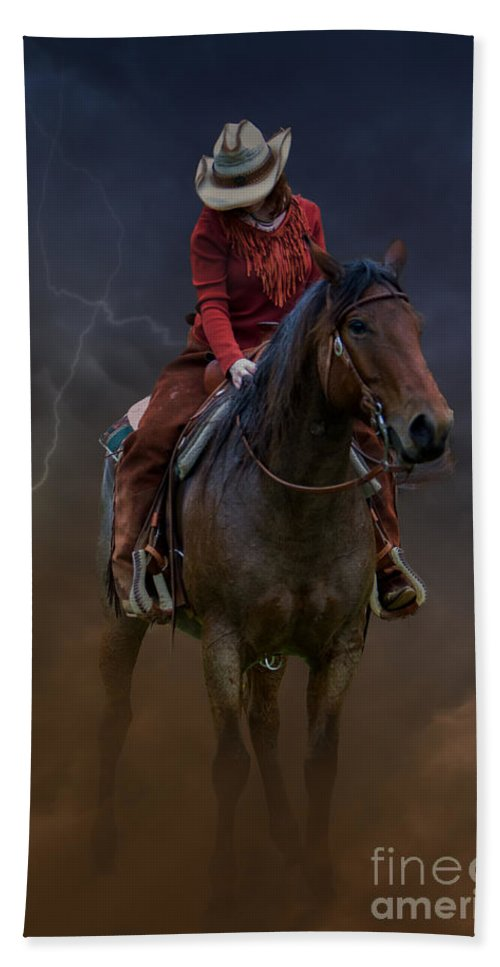 Blairstown Hand Towel featuring the digital art Horse And Rider by Jerry Fornarotto