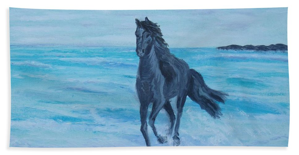 Horse Bath Sheet featuring the painting Horse At The Sea by Elena Sokolova