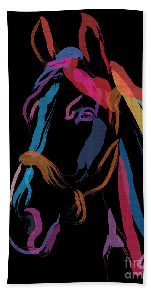 Horse Portrait Bath Sheet featuring the painting Horse-colour Me Beautiful by Go Van Kampen