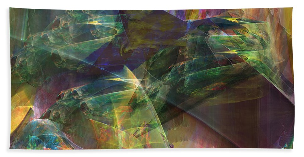 Horse Feathers Bath Sheet featuring the digital art Horse Feathers - Square Version by John Beck
