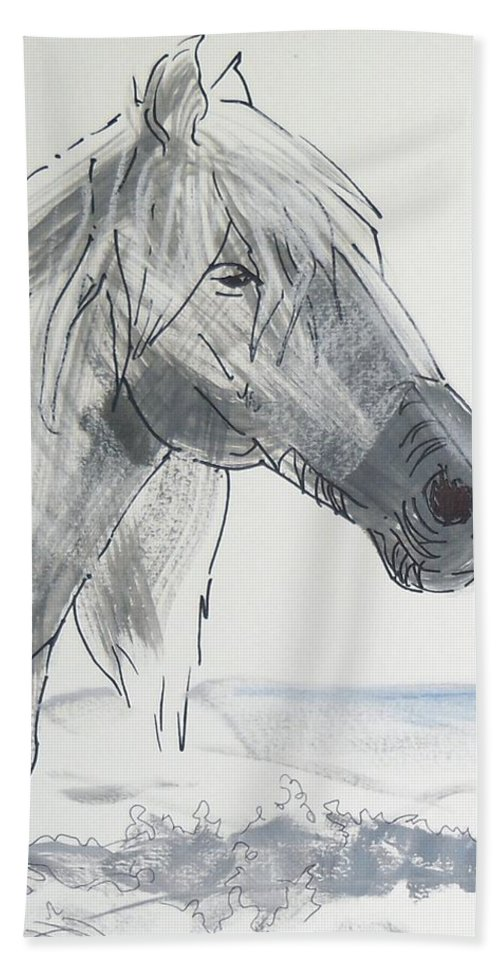 White Hand Towel featuring the painting Horse Head Drawing by Mike Jory