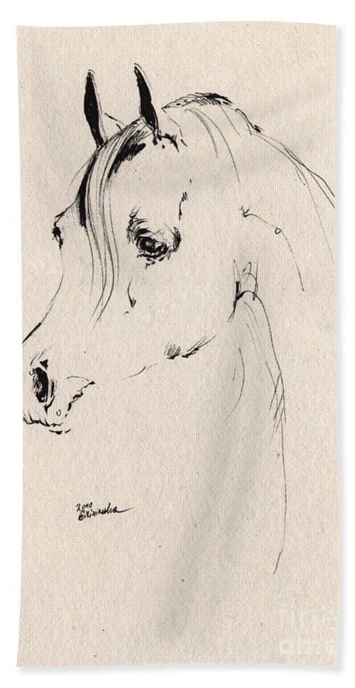 Horse Bath Sheet featuring the drawing Horse Head Sketch by Angel Ciesniarska