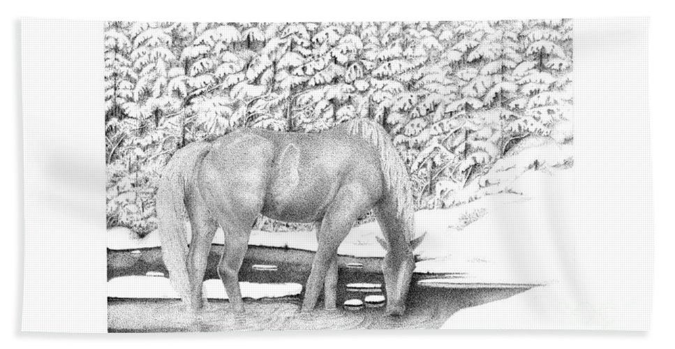 Horse Bath Sheet featuring the drawing Horse In Snow by Michael Stanford