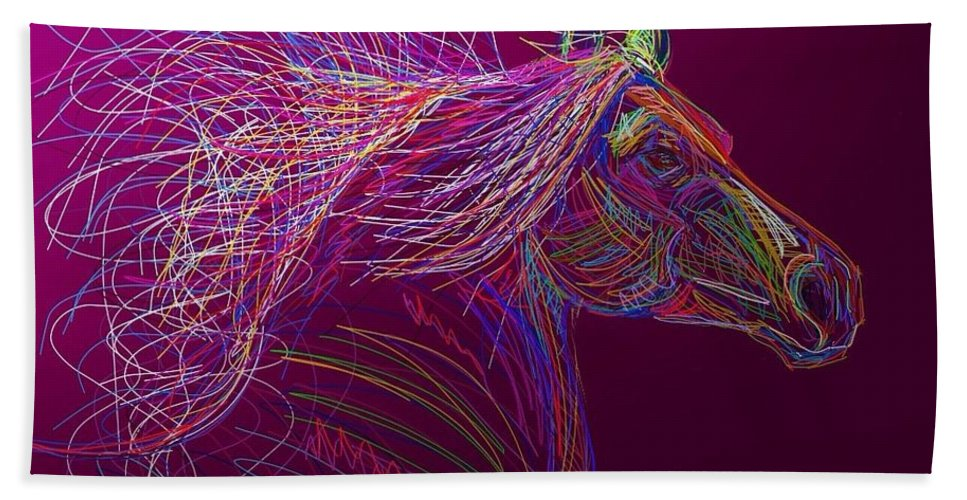 Horse Hand Towel featuring the painting Horse Of Fire by Marie Clark