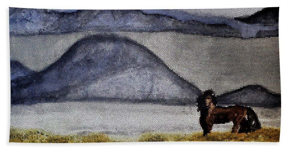 Watercolors Hand Towel featuring the mixed media Horse Of The Mountains With Stained Glass Effect by Verana Stark