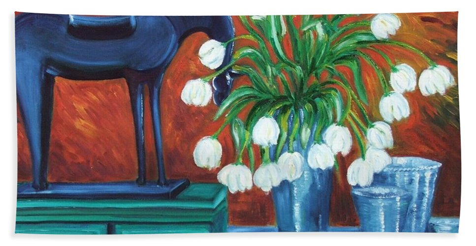 Still-life Bath Sheet featuring the painting Horse On The Cupboard by Caroline Street
