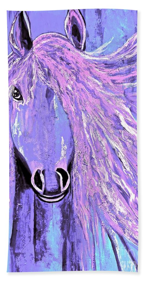 Horse Hand Towel featuring the painting Horse Pale Purple 2 by Saundra Myles