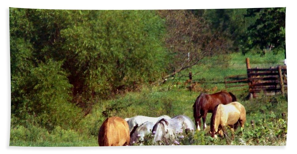Equine Bath Sheet featuring the digital art Horse Pasture by Cassie Peters