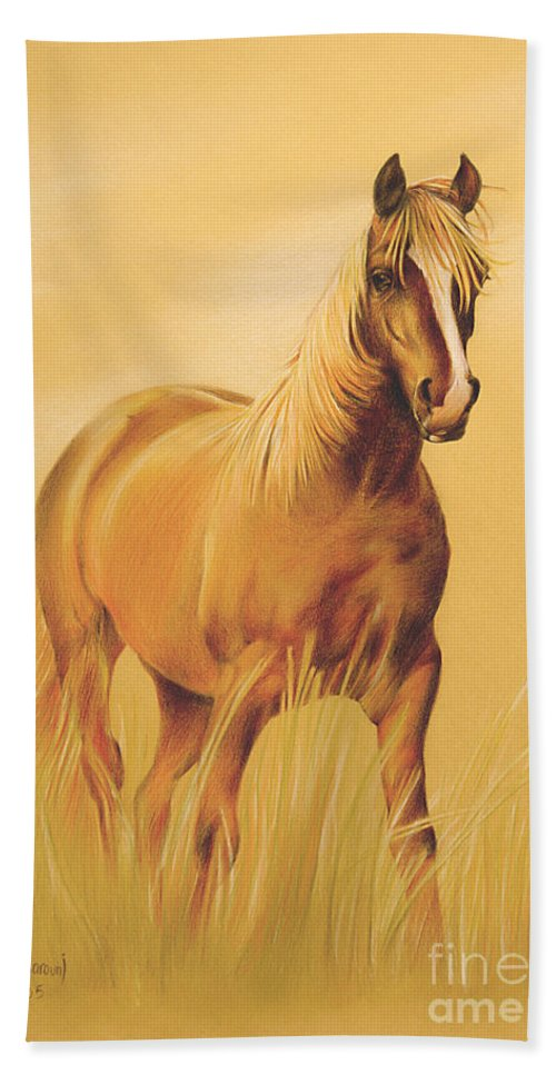 Horse Art Bath Sheet featuring the drawing Horse Portrait by Tamer and Cindy Elsharouni