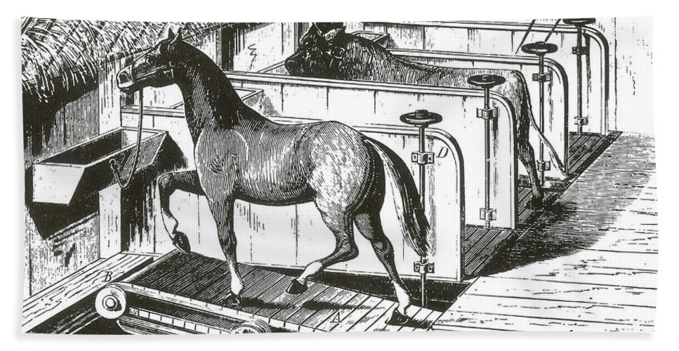 Science Hand Towel featuring the photograph Horse Powered Stall Cleaner, 1880 by Science Source