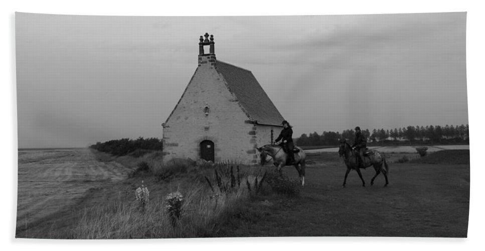 Church Hand Towel featuring the photograph Horse Riders By The Church by Aidan Moran