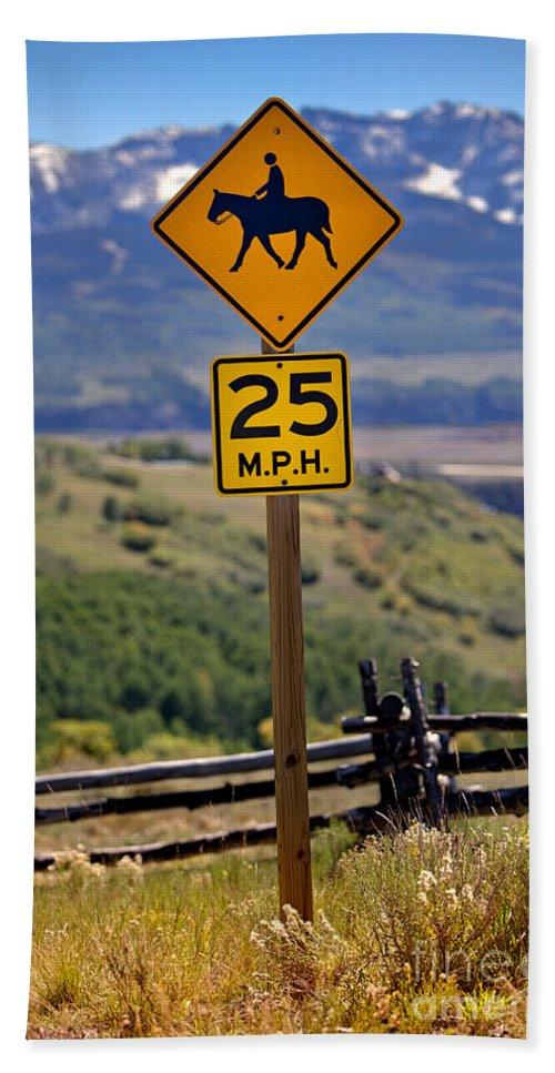 Colorado Bath Sheet featuring the photograph Horseback Riding Sign by Jerry Fornarotto