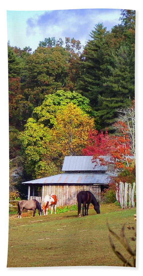 Duane Mccullough Hand Towel featuring the photograph Horses And Barn In The Fall by Duane McCullough