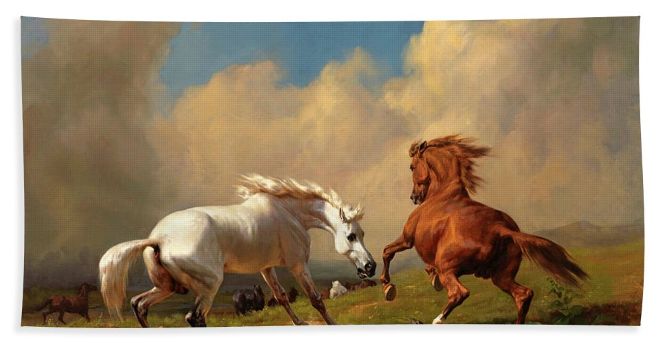 Rudolf Koller Bath Sheet featuring the painting Horses Balking At Approaching Storm by Rudolf Koller