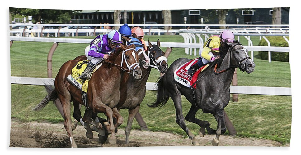 Saratoga Race Track 2013 Hand Towel featuring the photograph Horses Can Fly by Eric Swan