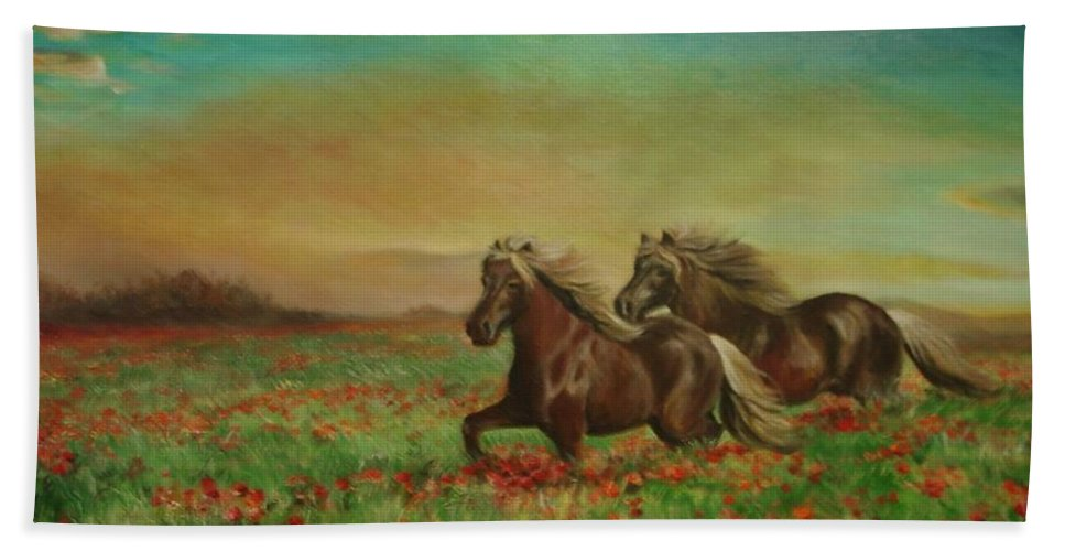 Horces Bath Sheet featuring the painting Horses In The Field With Poppies by Sorin Apostolescu