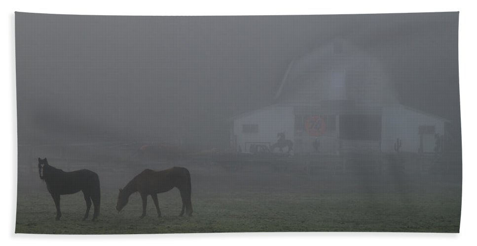 Horses Hand Towel featuring the photograph Horses In The Fog by Mick Anderson