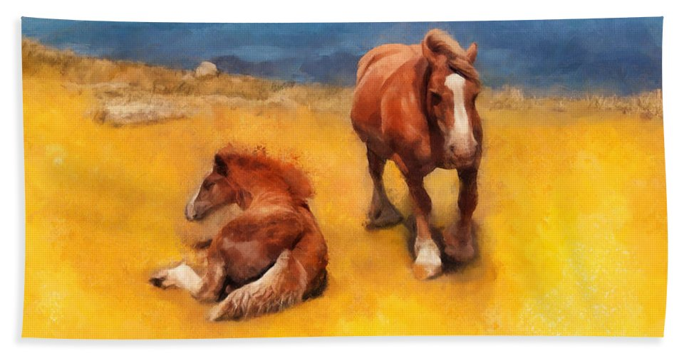 Horses Bath Sheet featuring the painting Horses On The Coast Of Brittany by Menega Sabidussi