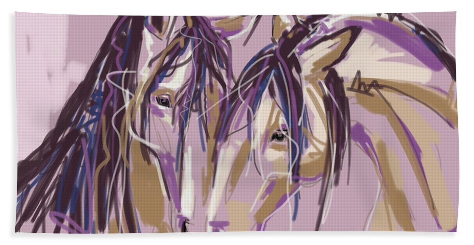 Horse Hand Towel featuring the painting horses Purple pair by Go Van Kampen