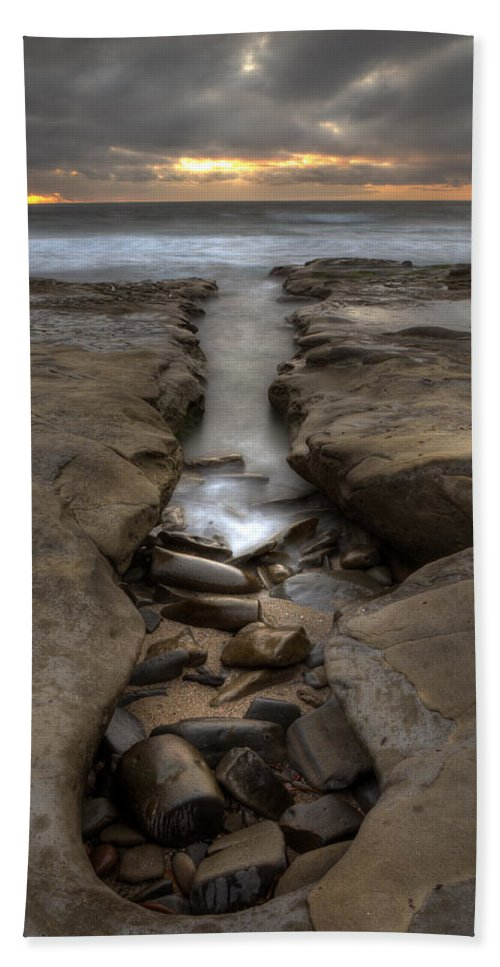 Clouds Bath Sheet featuring the photograph Horseshoes Beach Tidepools by Peter Tellone