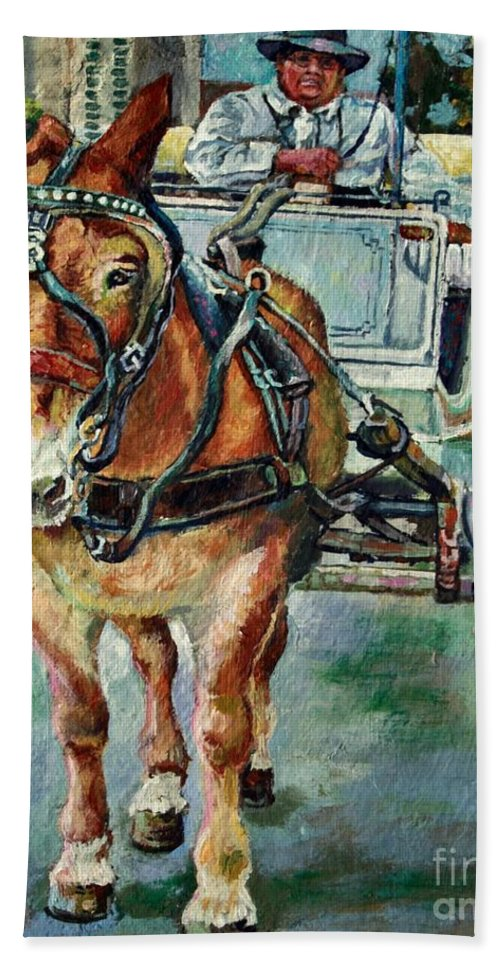 Art Hand Towel featuring the painting Horsing Around by Lisa Tygier Diamond