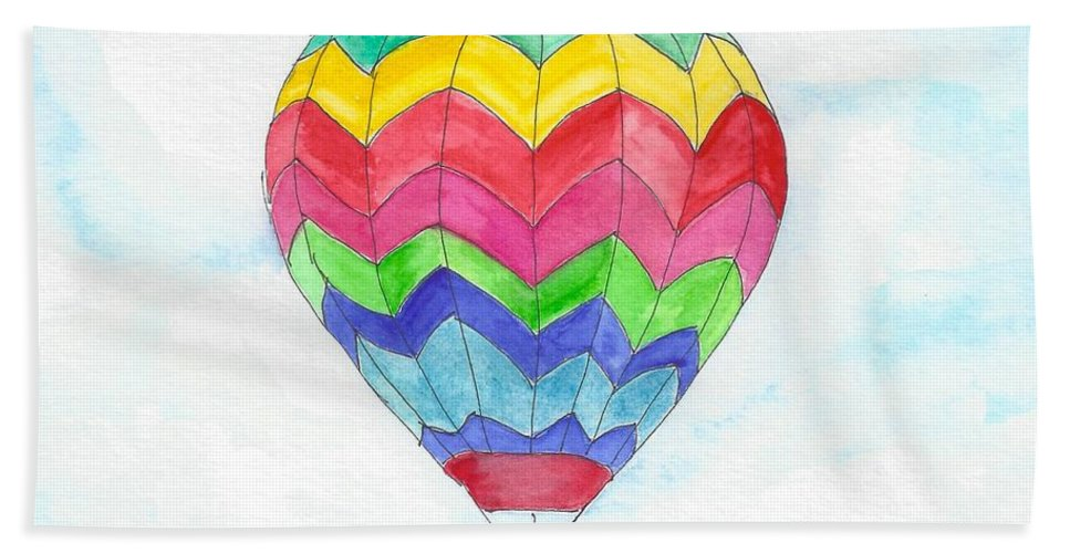 Hot Air Balloon Bath Sheet featuring the painting Hot Air Balloon 02 by Judith Rice