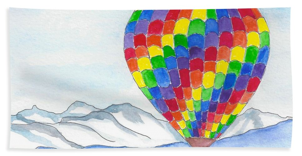 Hot Air Balloon Hand Towel featuring the painting Hot Air Balloon 04 by Judith Rice
