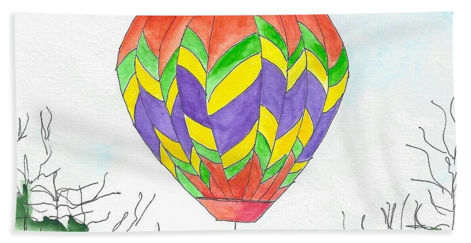 Hot Air Balloon Bath Sheet featuring the painting Hot Air Balloon 10 by Judith Rice