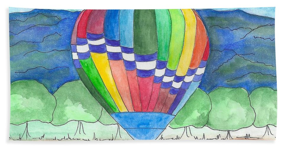 Hot Air Balloon Hand Towel featuring the painting Hot Air Balloon 11 by Judith Rice