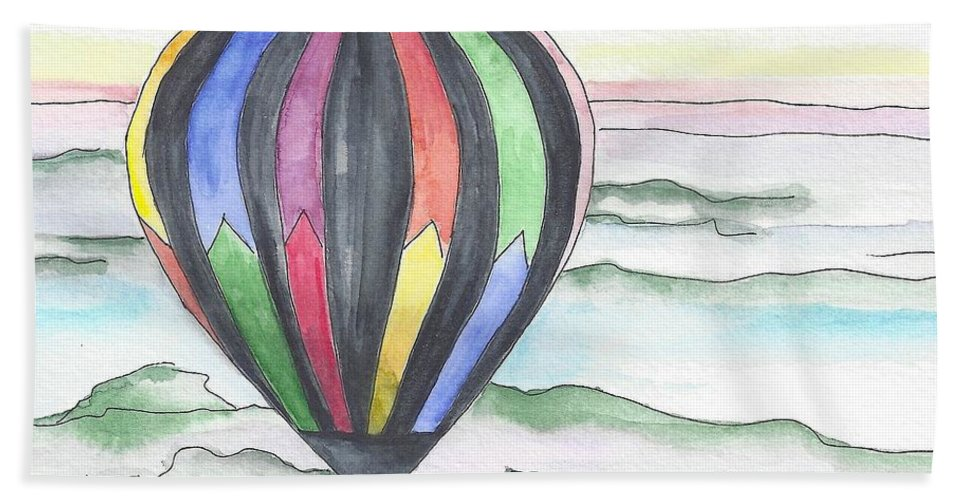 Hot Air Balloon Hand Towel featuring the painting Hot Air Balloon 12 by Judith Rice