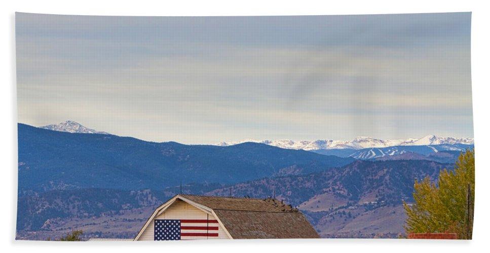 'hot Air Balloon' Bath Sheet featuring the photograph Hot Air Balloon Boulder Flag Barn And Eldora by James BO Insogna