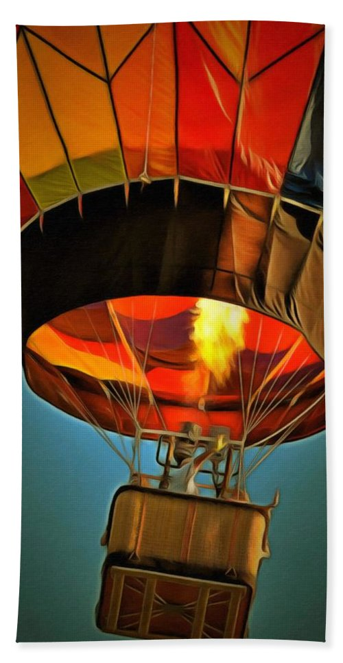 Hot Air Balloon Hand Towel featuring the painting Hot Air Balloon by L Wright