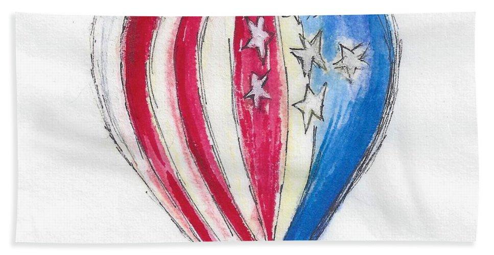 Hot Air Balloon Bath Sheet featuring the painting Hot Air Balloon Misc 01 by Judith Rice