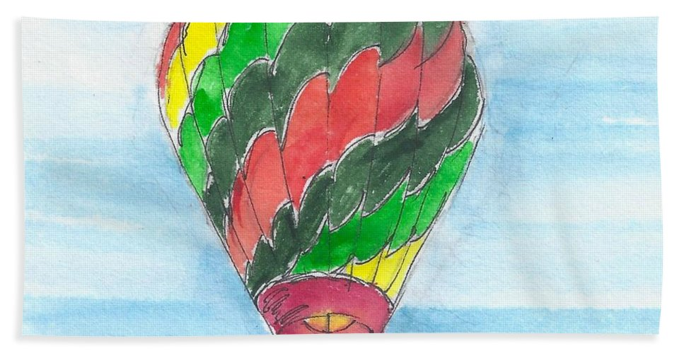 Hot Air Balloon Bath Sheet featuring the painting Hot Air Balloon Misc 03 by Judith Rice