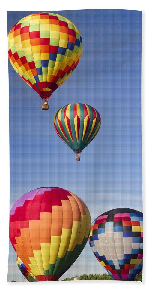 Hot Air Balloons Bath Sheet featuring the photograph Hot Air Balloon Race by Kathy Clark