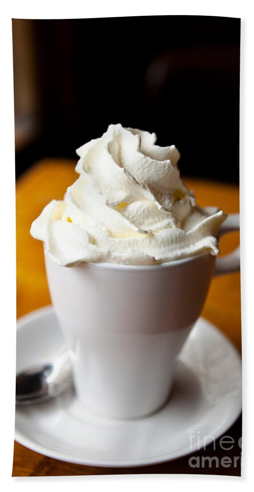 Belgium Hand Towel featuring the photograph Hot Chocolate With Creme Chantilly by Leslie Banks