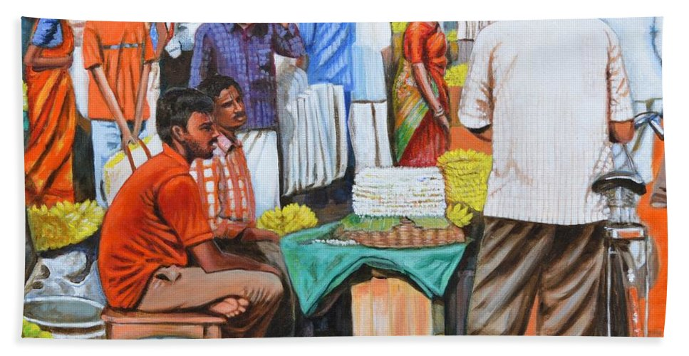 Hot Bath Sheet featuring the painting Hot Deals by Usha Shantharam