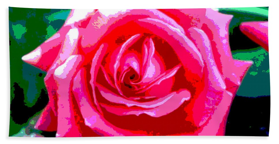 Digital Hand Towel featuring the digital art Hot Pink Rose by Alys Caviness-Gober
