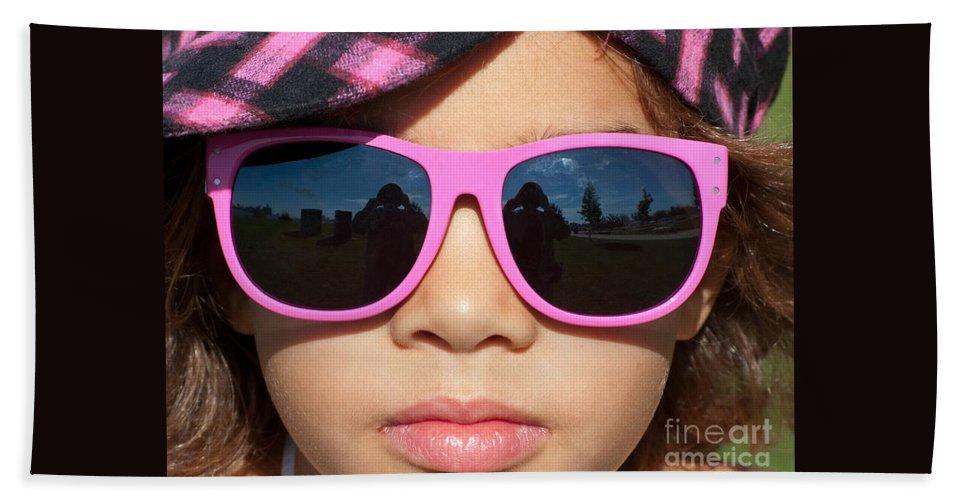 Sunglasses Bath Sheet featuring the photograph Hot Pink Sunglasses by Ann Horn