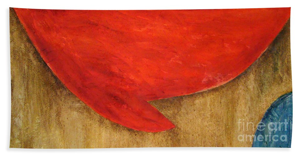 Abstract Bath Sheet featuring the painting Hot Spot by Silvana Abel