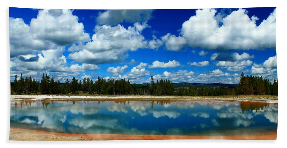 Yellowstone National Park Bath Sheet featuring the photograph Hot Springs And Clouds by Catie Canetti