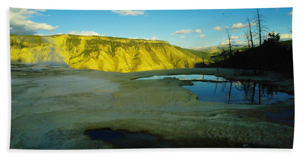 Pools Hand Towel featuring the photograph Hot Springs Yellowstone by Jeff Swan