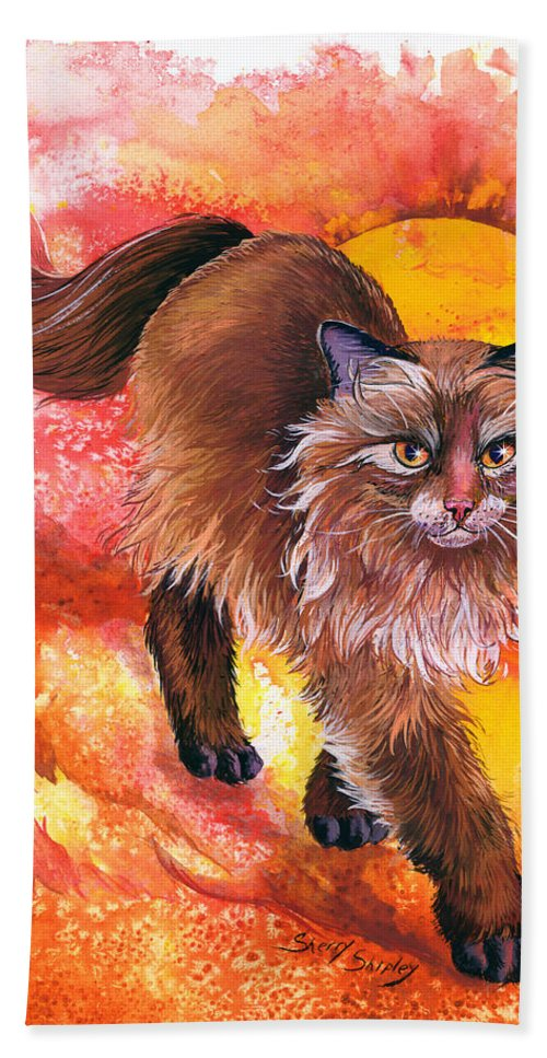 Cat. Kitty Hand Towel featuring the painting Hot Stuff by Sherry Shipley